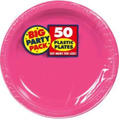 "Big Party Pack Bright Pink Plastic Dessert Plates, 7"" - 50ct"