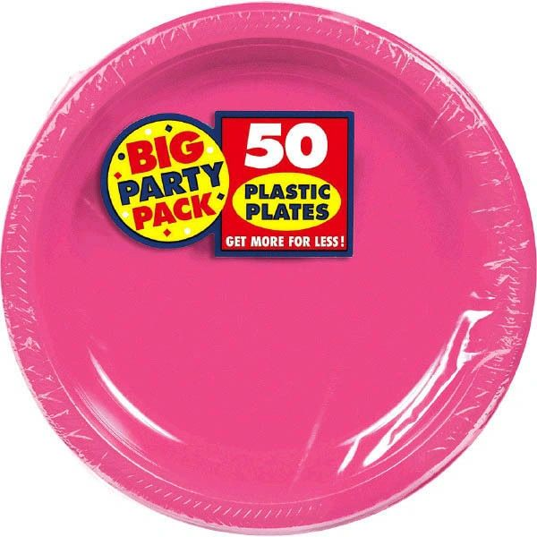 """Big Party Pack Bright Pink Plastic Dinner Plates, 10 1/4"""" - 50ct"""