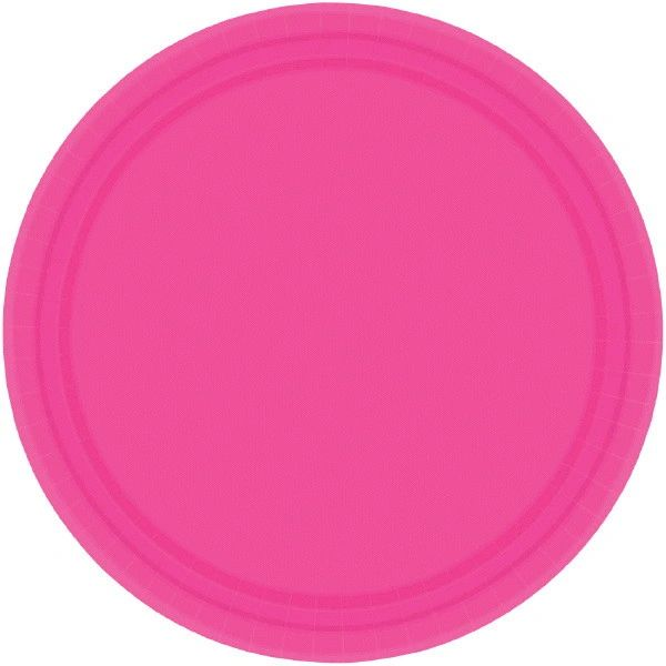 "Bright Pink Paper Dessert Plates, 7"" - 20ct"