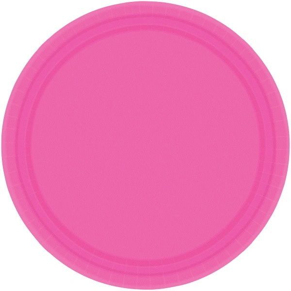 """Bright Pink Lunch Plates, 9"""" - 20ct"""
