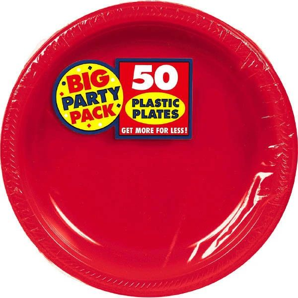 """Big Party Pack Red Plastic Plates, 7"""" - 50ct"""