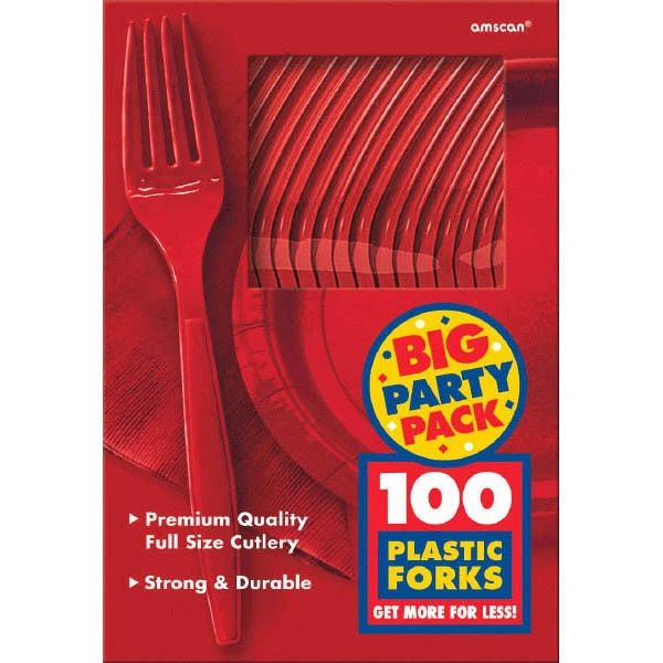 Big Party Pack Red Plastic Forks, 100ct