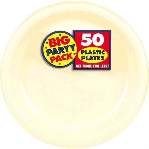 """Vanilla Crème Big Party Pack Plastic Plates, 10 1/4"""""""