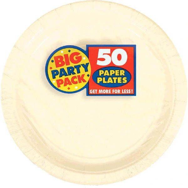 """Vanilla Crème Big Party Pack Paper Plates, 7"""""""