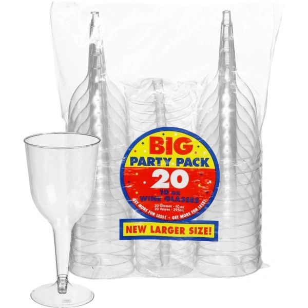 Big Party Pack Clear Plastic Wine Glasses, 10 oz - 20ct