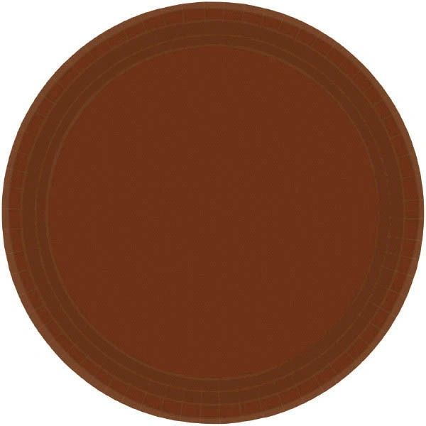 "Chocolate Brown Dessert Plates, 7"" - 20ct"