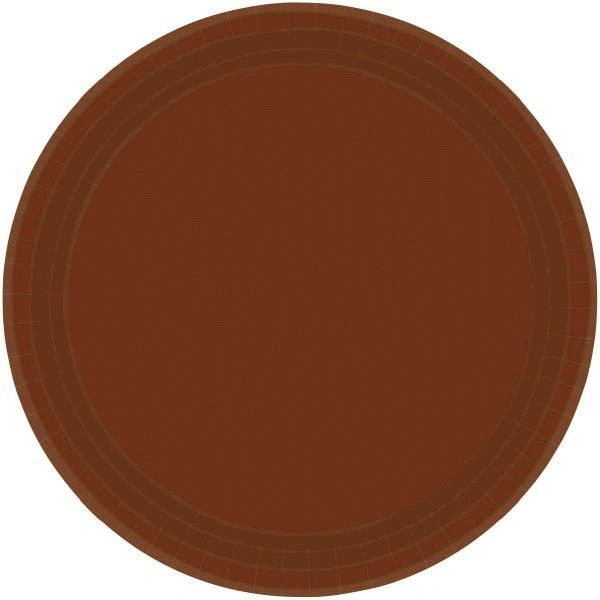 "Chocolate Brown Paper Lunch Plates, 9"" - 20ct"