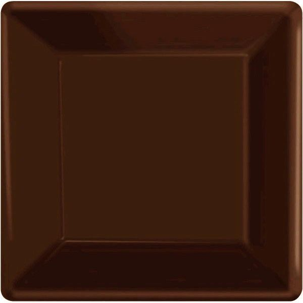 "Chocolate Brown Square Paper Plates, 7"" 20ct"