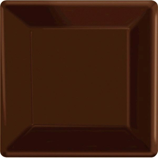 "Chocolate Brown Square Paper Plates, 10"" 20ct"