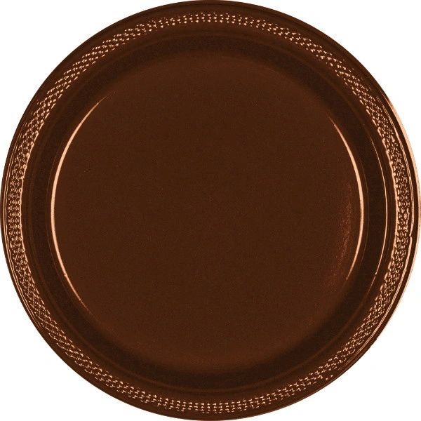 "Chocolate Brown Dinner Plates, 10 1/4"" - 20ct"