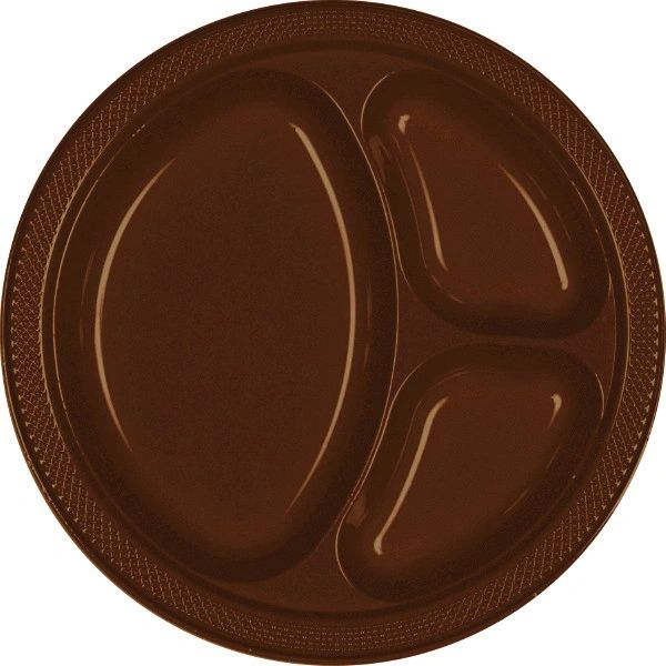 "Chocolate Brown Divided Plastic Plates, 10 1/4"" - 20ct"