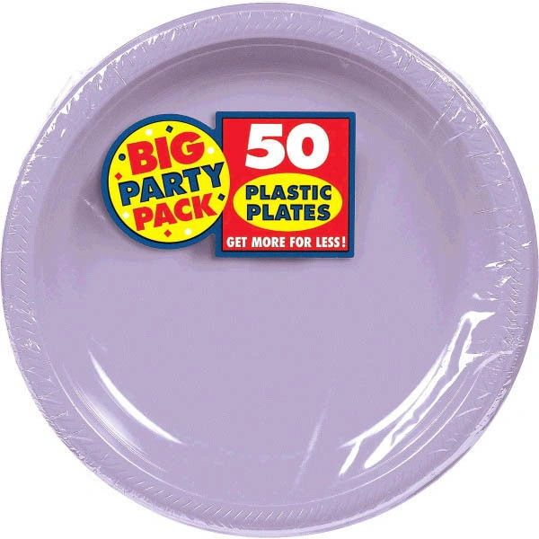 "Big Party Pack Lavender Plastic Plates, 10 1/4"" - 50ct"