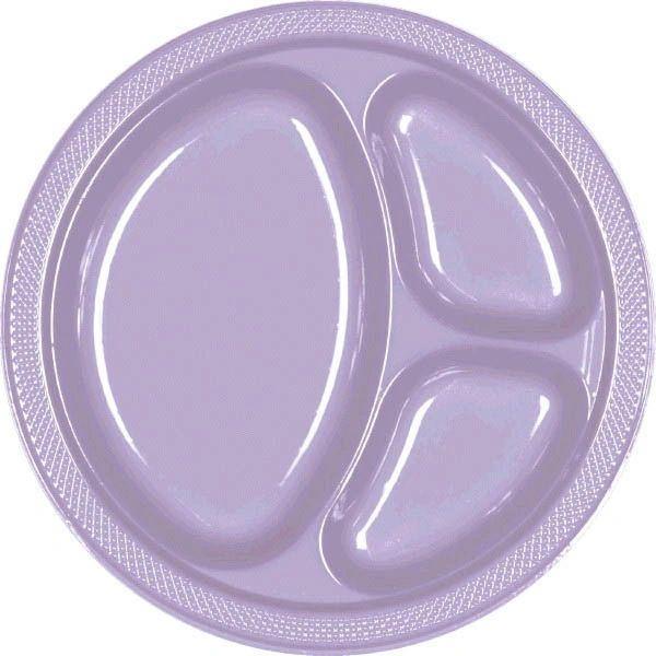"Lavender Divided Plastic Plates, 10 1/4"" - 20ct"