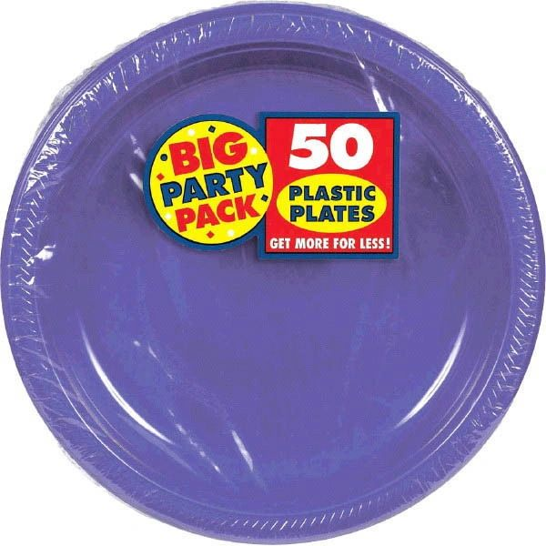 "Big Party Pack New Purple Plastic Dessert Plates, 7"" - 50ct"