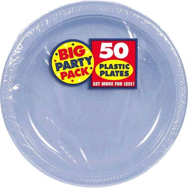 """Big Party Pack Pastel Blue Plastic Dessert Plates, 7"""" - 50ct"""