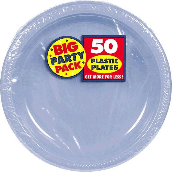 "Big Party Pack Pastel Blue Plastic Dinner Plates, 10 1/4"" - 50ct"