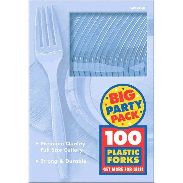 Big Party Pack Pastel Blue Plastic Forks, 100ct