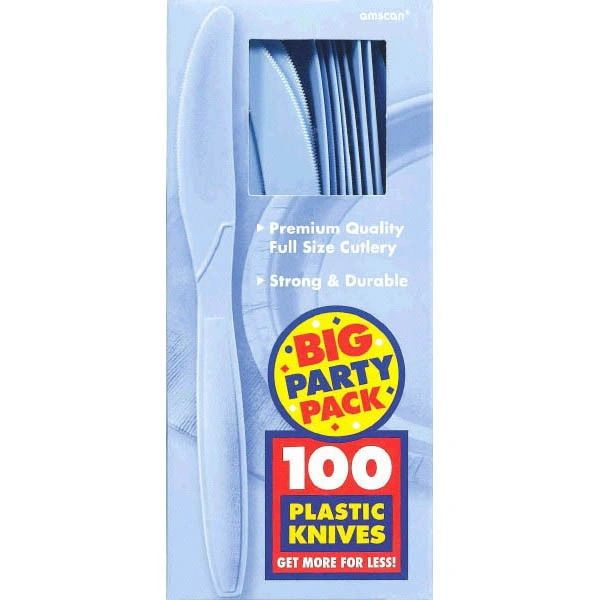 Big Party Pack Pastel Blue Plastic Knives, 100ct