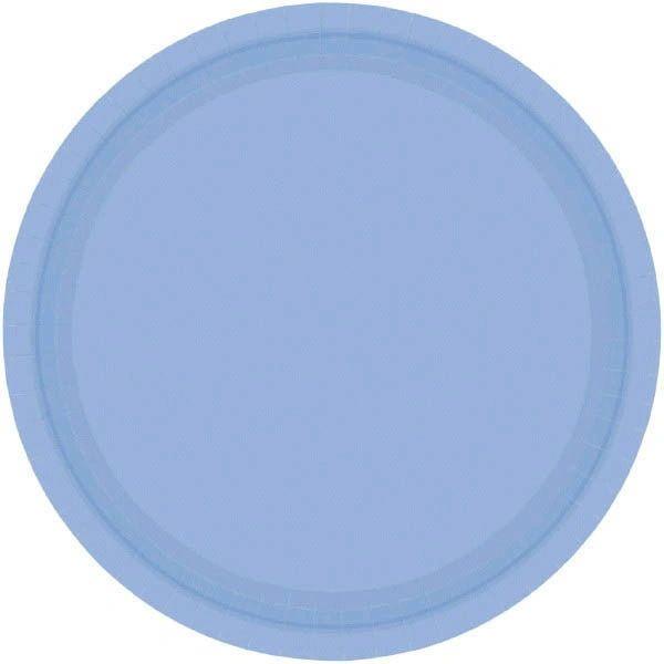 "Pastel Blue Paper Dessert Plates, 7"" - 20ct"
