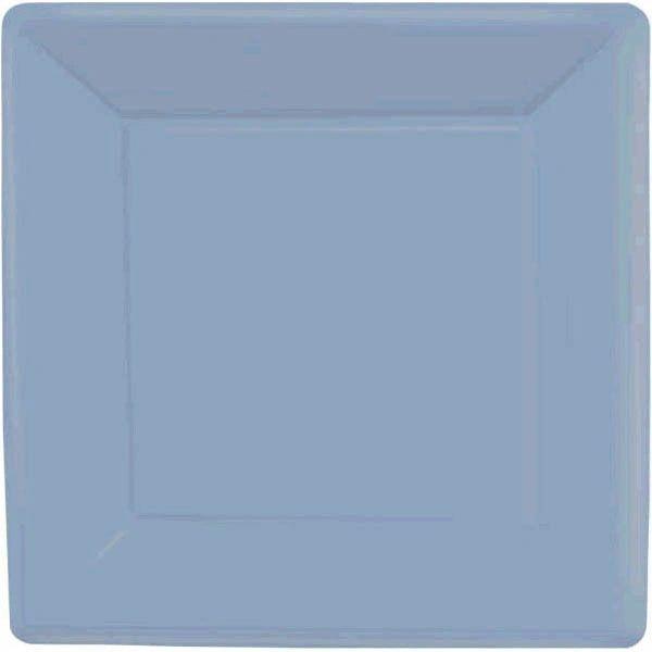 """Pastel Blue Square Paper Plates, 7"""" 20ct"""