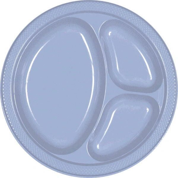 "Pastel Blue Divided Plastic Plates, 10 1/4"" - 20ct"