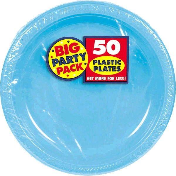 "Big Party Pack Caribbean Blue Plastic Dessert Plates, 7"" - 50ct"