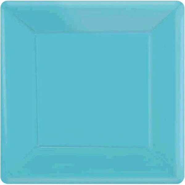 "Caribbean Blue Square Dessert Plates, 7"" - 20ct"