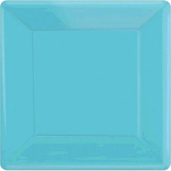 "Caribbean Blue Square Dinner Plates, 10 1/4"" - 20ct"