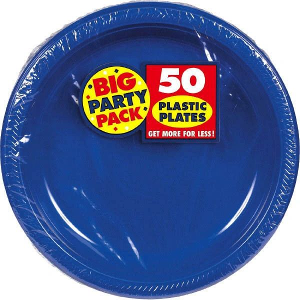 "Big Party Pack Bright Royal Blue Plastic Dessert Plates, 7"" - 50ct"