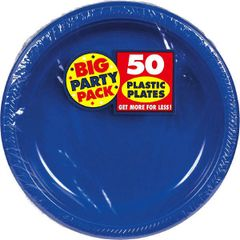 "Big Party Pack Bright Royal Blue Plastic Plates, 10 1/4"" - 50ct"