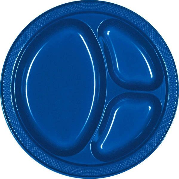 "Bright Royal Blue Divided Plastic Plates, 10 1/4"" - 20ct"