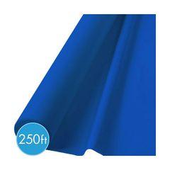 "Extra-Long Bright Royal Blue Plastic Table Roll, 40"" x 250'"