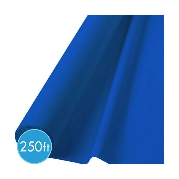 "Extra-Long Bright Royal Blue Plastic Table Roll, 40"" x 250'"