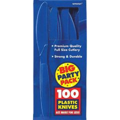 Big Party Pack Bright Royal Blue Plastic Knives, 100ct
