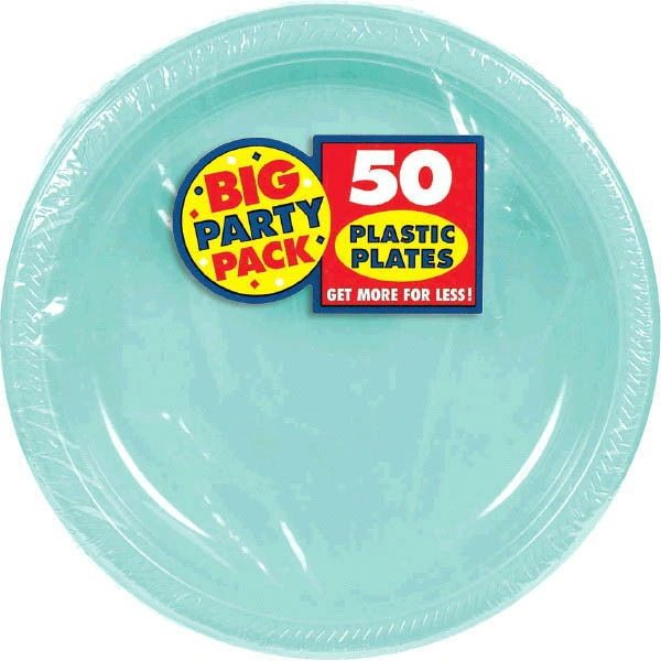 """Big Party Pack Robin's Egg Blue Plastic Plates, 7"""" - 50ct"""
