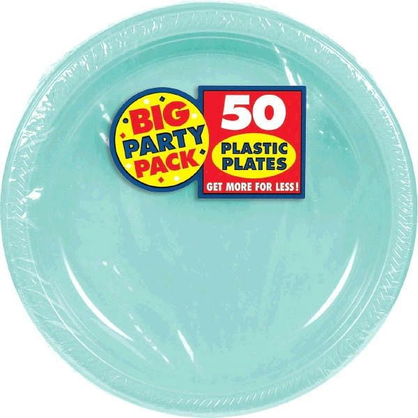 """Big Party Pack Robin's Egg Blue Plastic Plates, 10 1/4"""" - 50ct"""