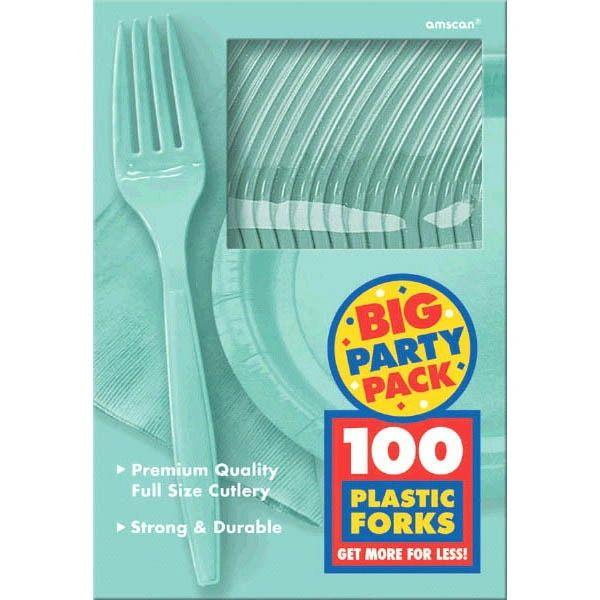 Big Party Pack Robin's-Egg Blue Plastic Forks, 100ct