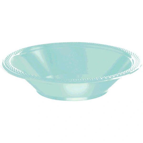 Robin's-Egg Blue Plastic Bowls, 12oz - 20ct