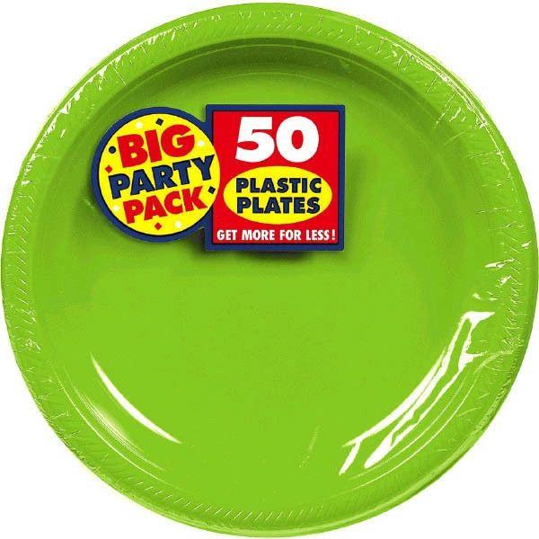 "Big Party Pack Kiwi Plastic Plates, 7"" - 50ct"