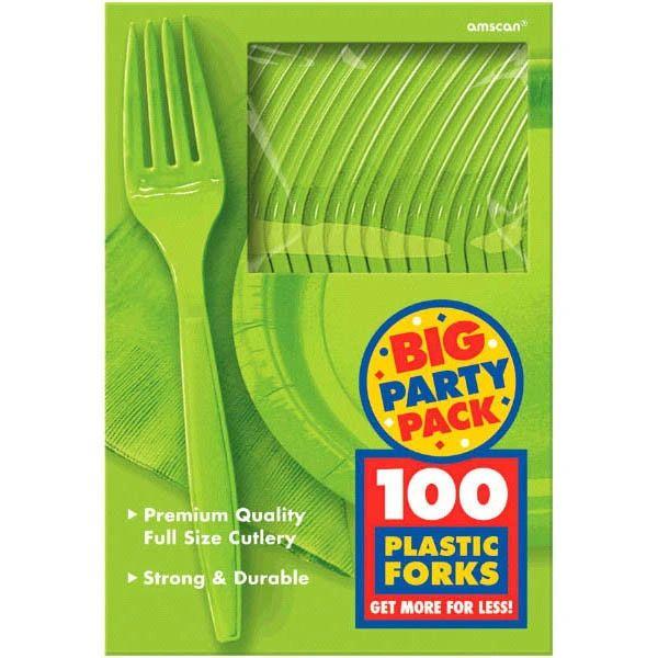 Big Party Pack Kiwi Plastic Forks, 100ct