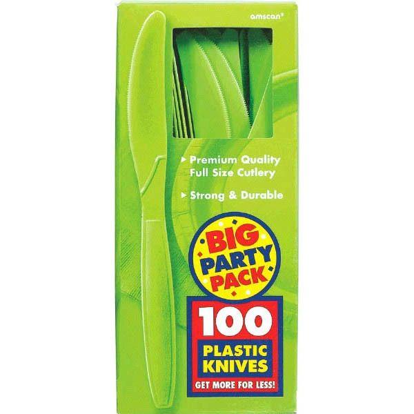 Big Party Pack Kiwi Plastic Knives, 100ct