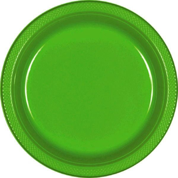 "Kiwi Plastic Dessert Plates, 7"" - 20ct"
