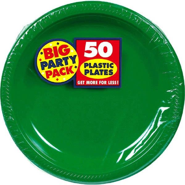 """Big Party Pack Festive Green Plastic Plates, 7"""" - 50ct"""