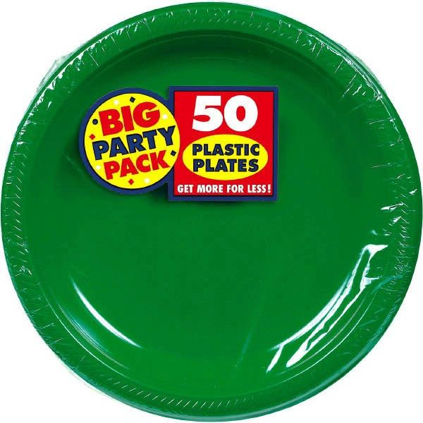 """Big Party Pack Festive Green Plastic Dinner Plates, 10 1/4"""" - 50ct"""