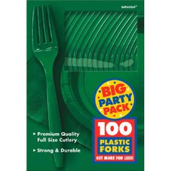 Big Party Pack Festive Green Plastic Forks, 100ct