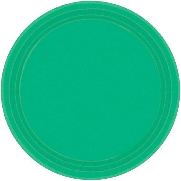 "Festive Green Paper Dessert Plates, 7"" - 20ct"