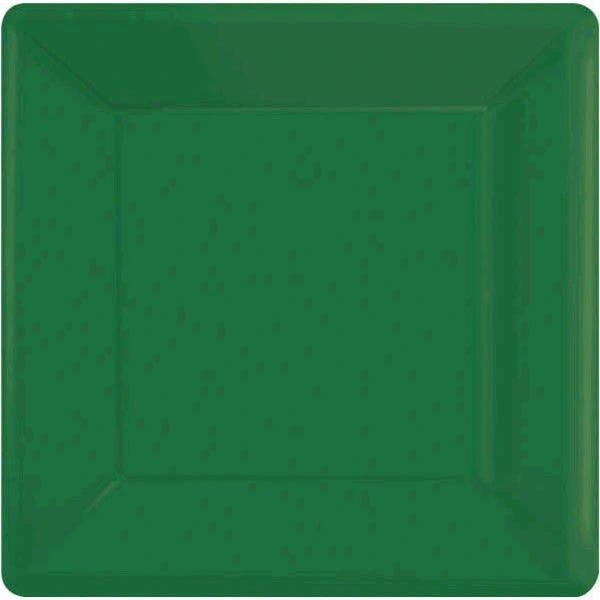 "Festive Green Square Dessert Plates, 7"" - 20ct"