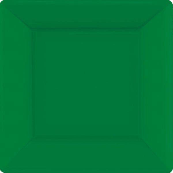 "Festive Green Square Paper Plates, 10"" 20ct"