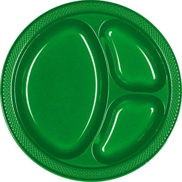 "Festive Green Divided Plastic Plates, 10 1/4"" - 20ct"