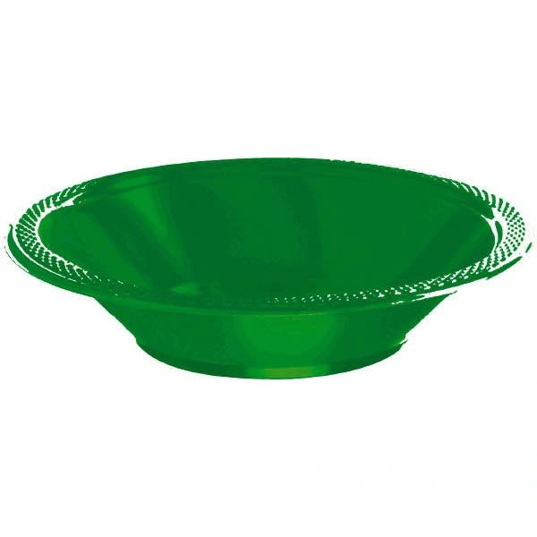 Festive Green Plastic Bowls, 12oz - 20ct